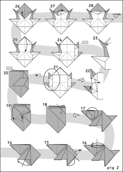 Как сделать свинку из оригами