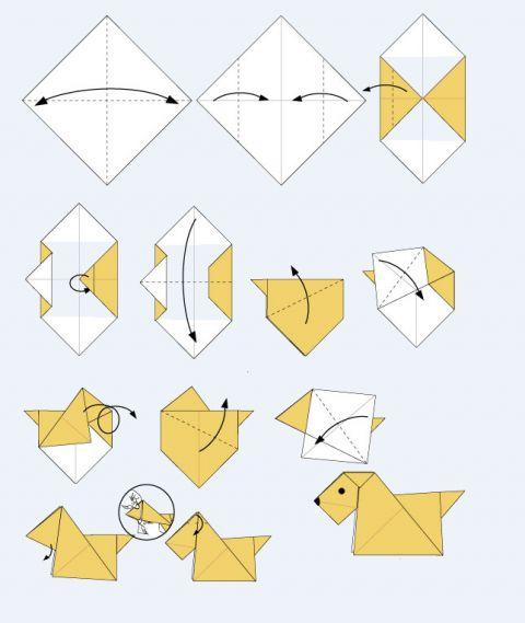 сборки собаки из бумаги.