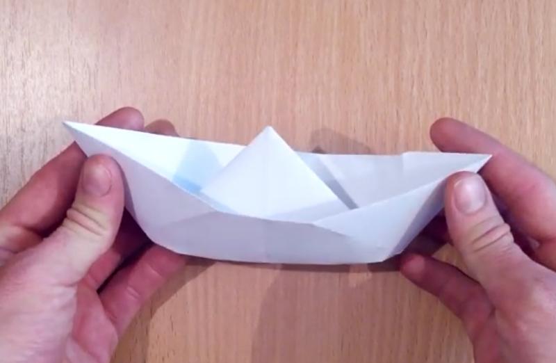 Лодка оригами. Видео схема.