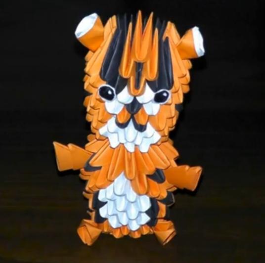 ▶ Модульное оригами тигр (тигренок) схема сборки - YouTube - Mozilla Firefox