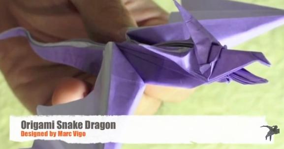 Змеевидный дракон оригами. Видео схема.  Из Бумаги - Mozilla Firefox