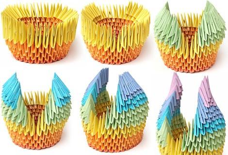 модульного оригами лебедя.